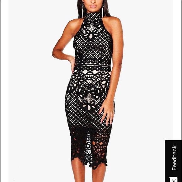 Boohoo Dresses & Skirts - Boutique Ayn Lace Open Back Midi Bodycon Dress